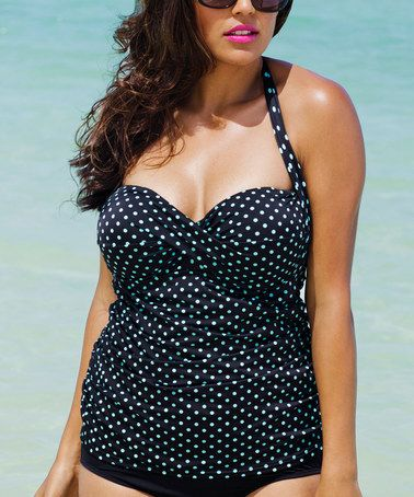 bc40327d2c903 Black & Teal Dot Halter Tankini Top - Plus Too by Love My Curves #zulily