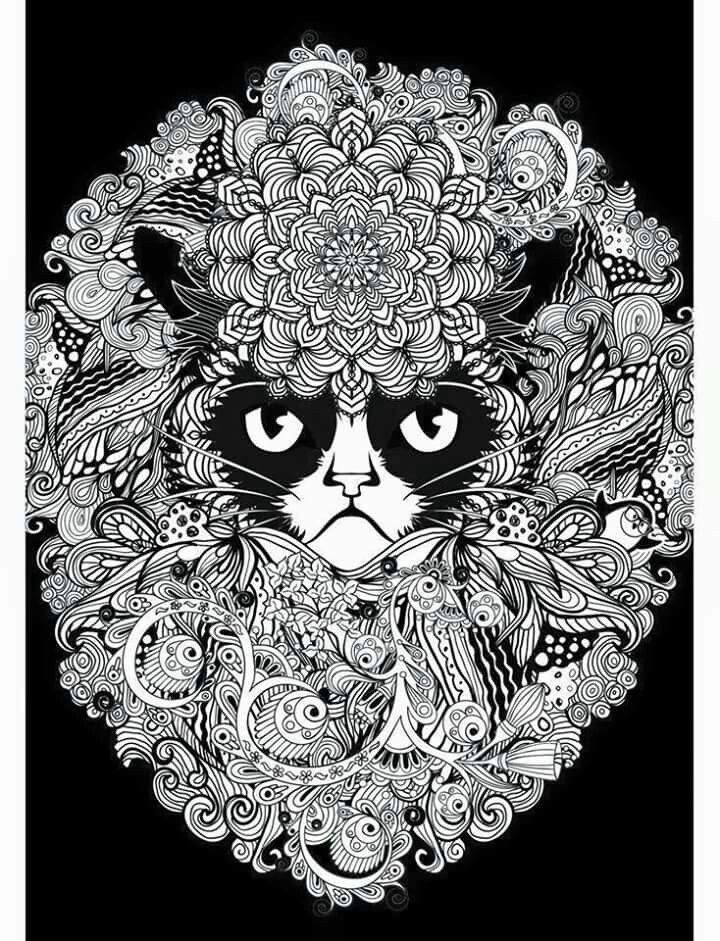It is a picture of Sweet Grumpy Cat Coloring Page