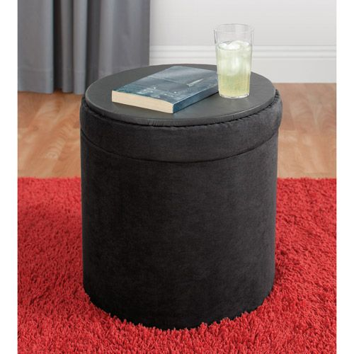 88 Best Images About Ottomans On Pinterest: Your Zone Round Black Storage Ottoman