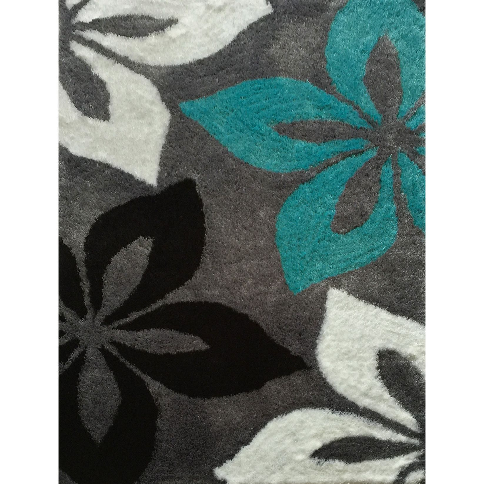 Hand Tufted Turquoise And Grey Area Rug 7 6 X 10 3