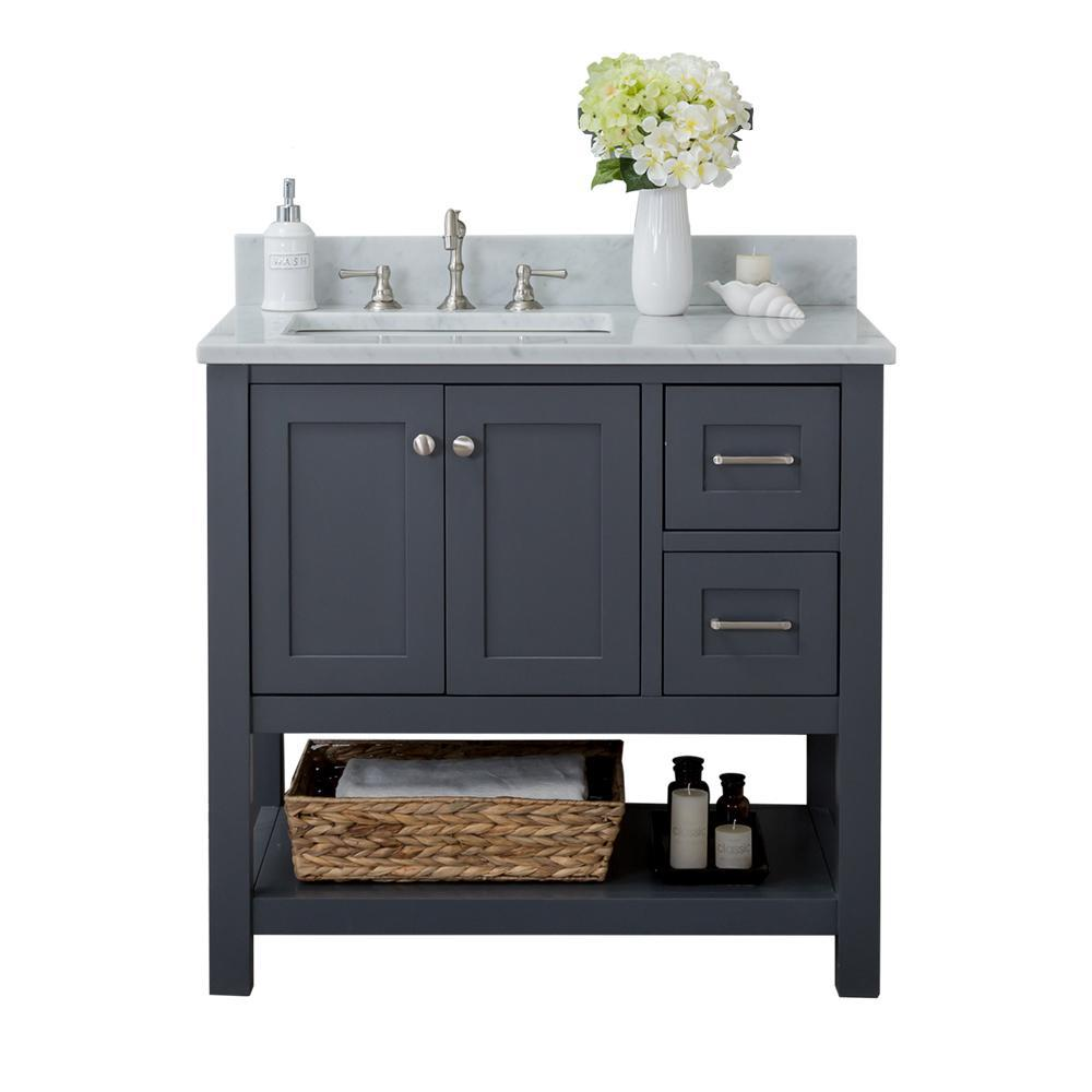Home Elements Shoreline 36 In W X 22 In D Bath Vanity In Gray With Marble Vanity Top In White With White Basin And Mirror Bath Vanities Marble Vanity Tops 42 Inch Bathroom Vanity