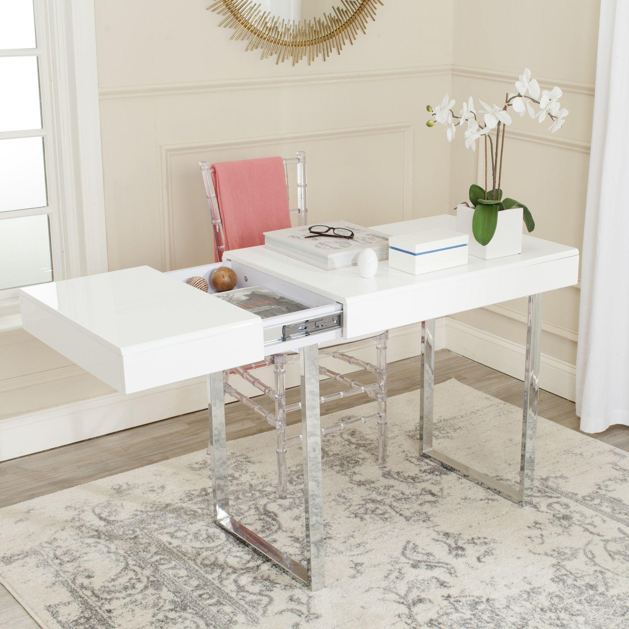 Chromium Desk Home Office Furniture Contemporary Writing Desk Modern White Desk