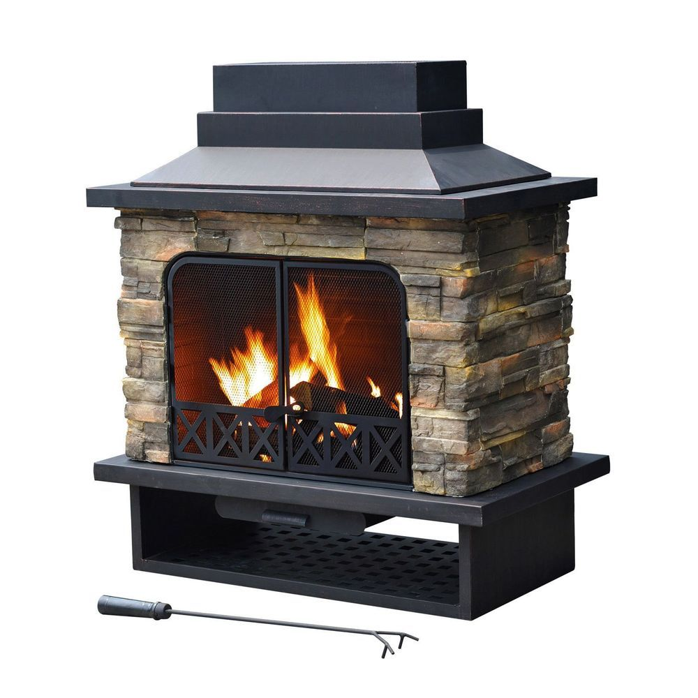 Outdoor Fireplace Stone Rock Fire Pit Patio Furniture Wood Burning Metal Black