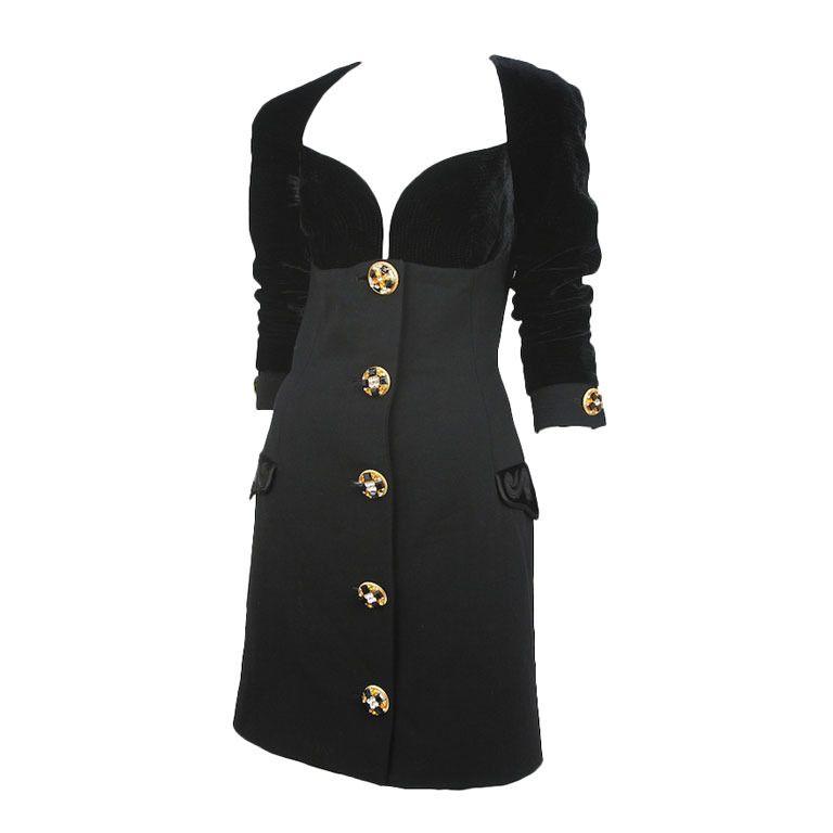 e35565292ef4 Preowned Gianni Versace Black Velvet Wool Coat ( 2