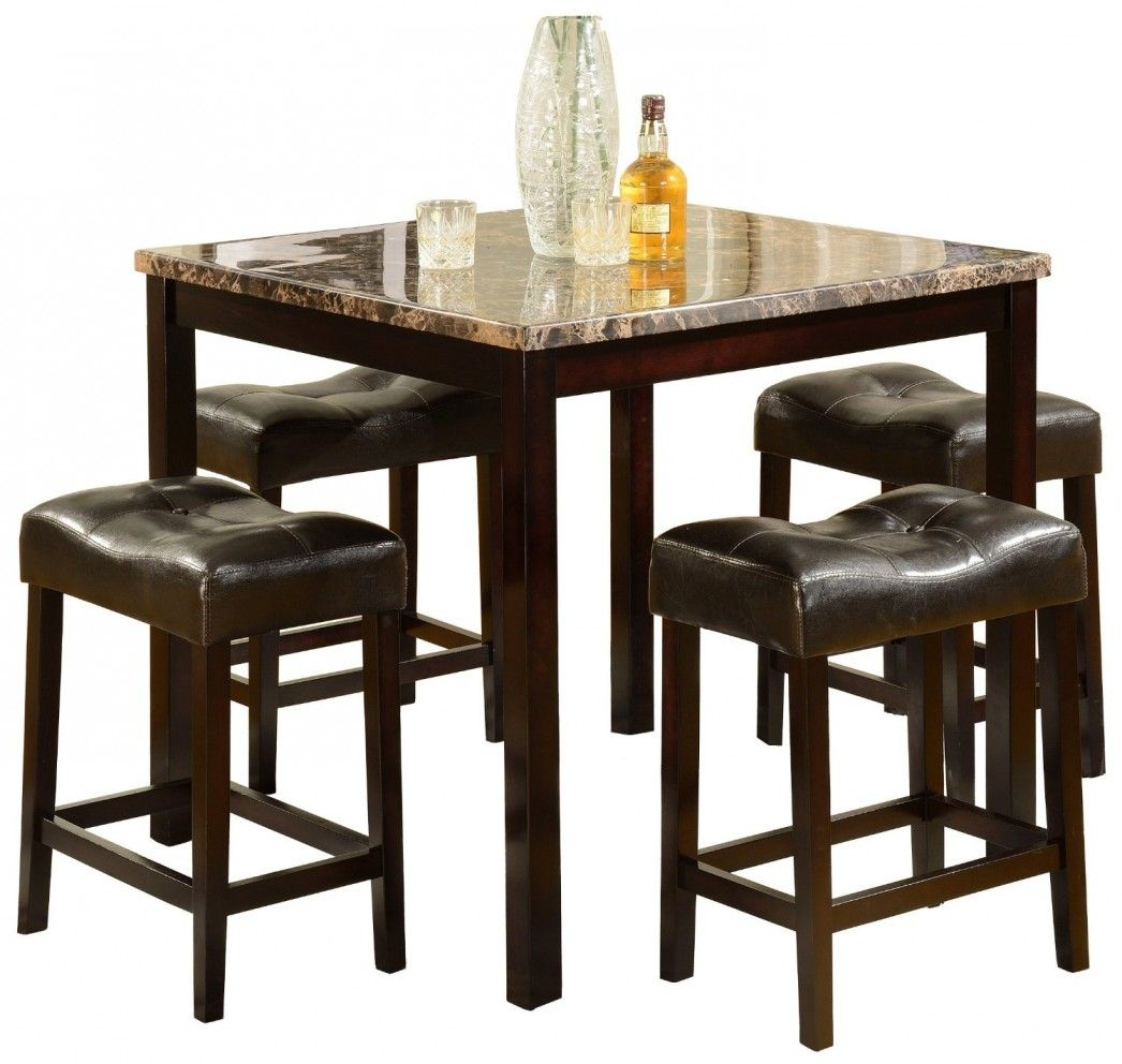 Furniture High Top Dining Room Inspiration Table Sets Best Four Wooden Bar  Stool With Brown Leather Cushion Square Wooden Dining Table With Granite On  Top ...