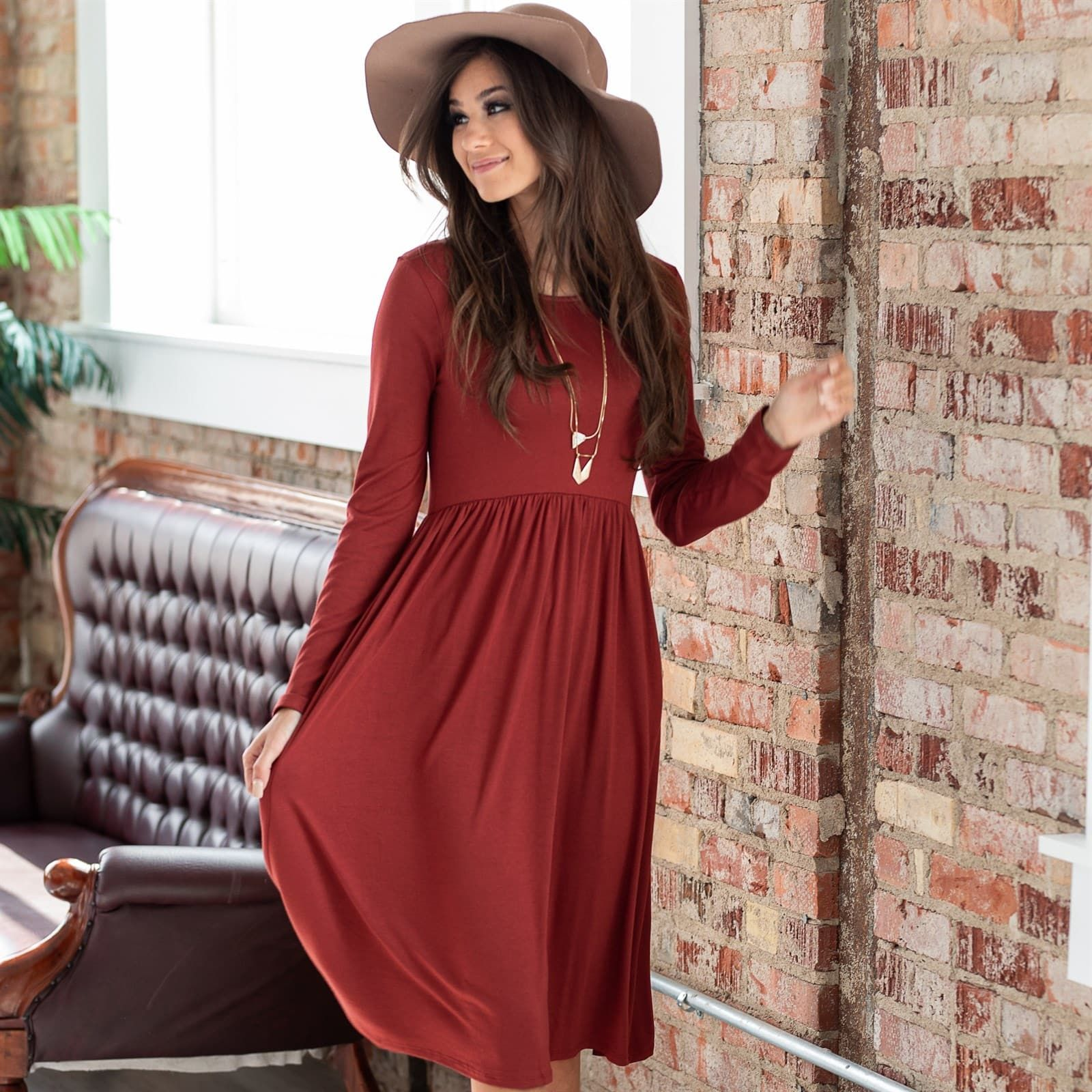 8f5eb2d312457 Long Sleeve Shirring Waist Dress in 2019 | Dress It Up | Dresses ...