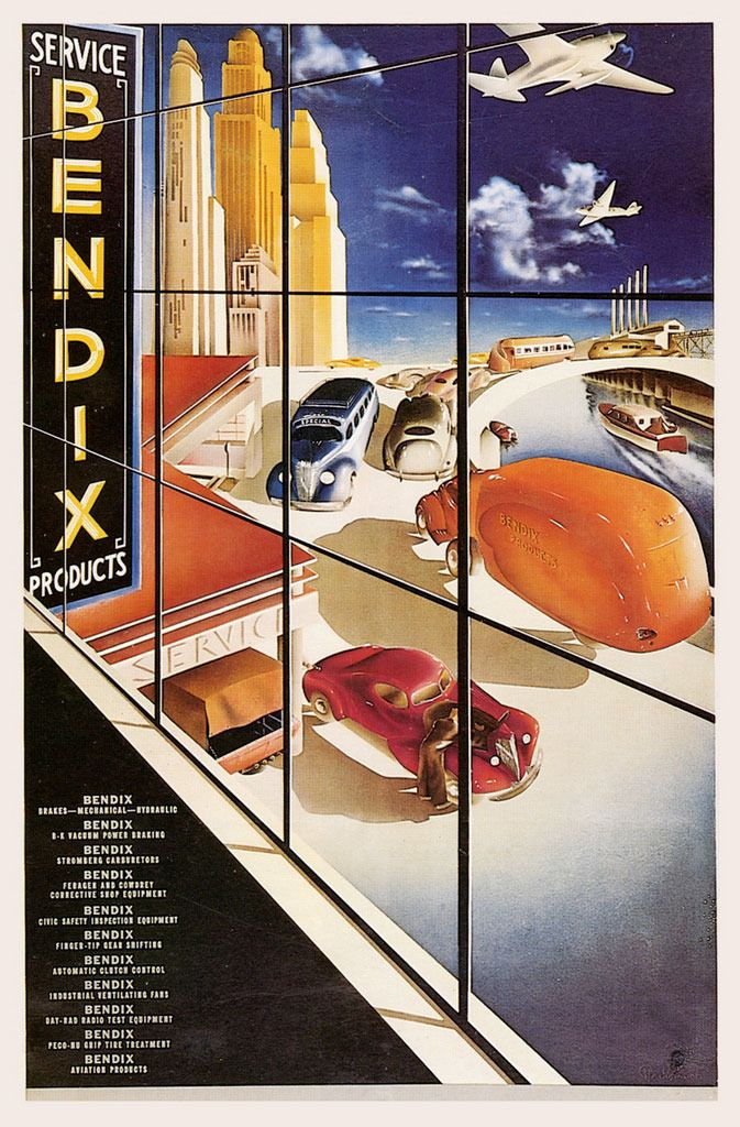 The World According To Bendix 1937 Poster By Arthur Radebaugh Retro Futurism Art Deco Illustration Art Deco Posters