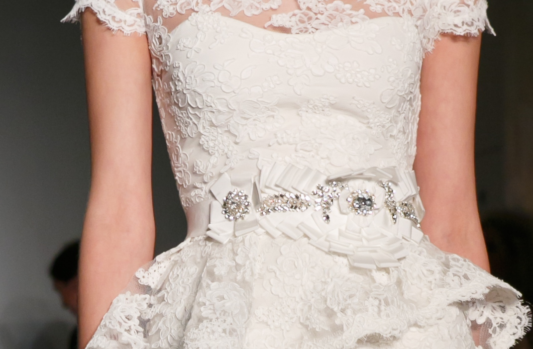 Bridal Runway Inspiration Fall 2013 Reem Acra wedding dresses lace peplum - combining 2 of my faves - lace and peplum