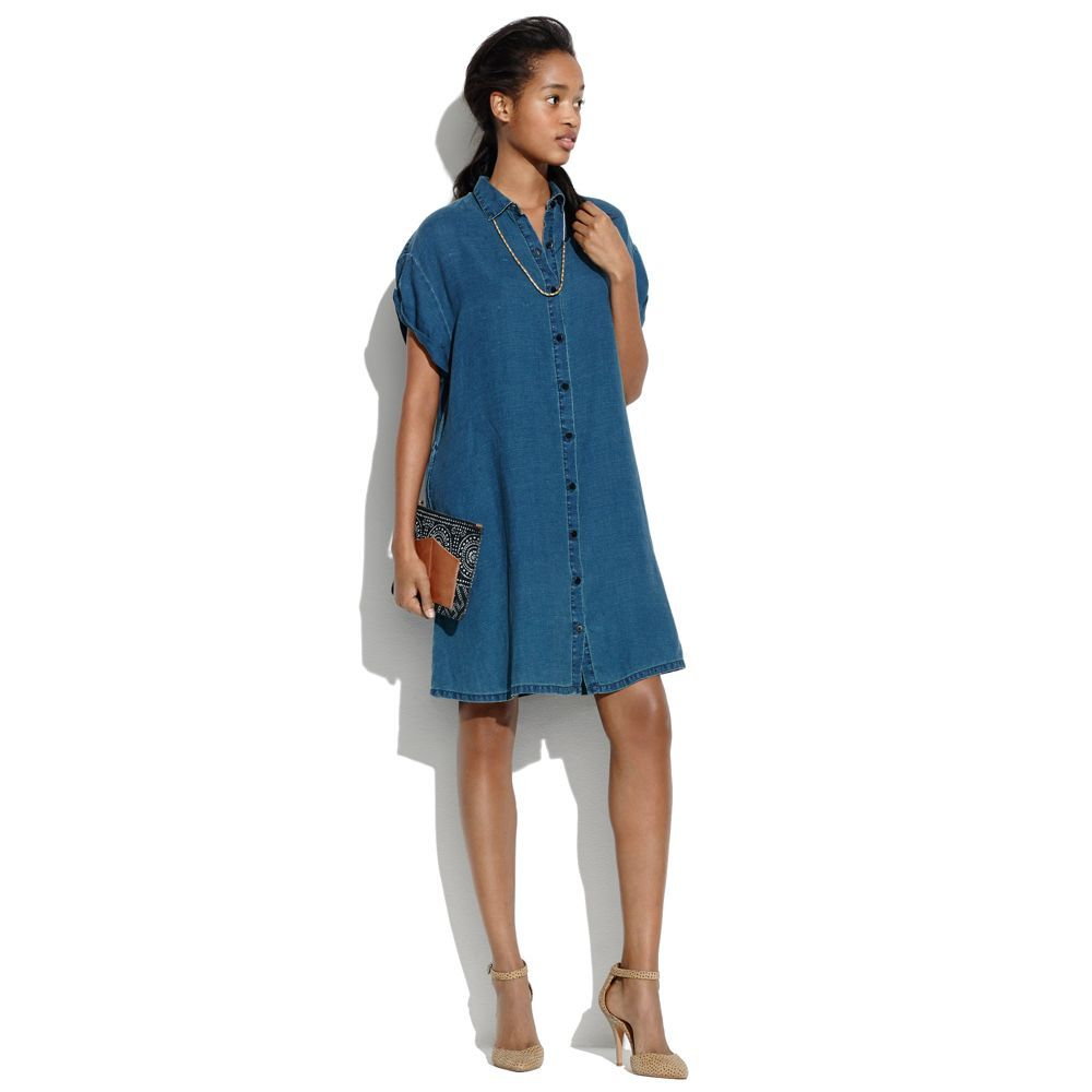 Indigo Linen Tunic Dress in Ink Shell
