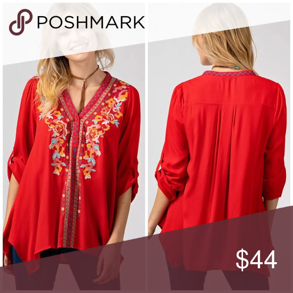 """bcbcffd8482 Andrée By Unit. Tomato Red embroidered Blouse Beautiful. Last one. Perfect  embroidery quality as JW. Roll up sleeves. 3 button down Bust 44"""" Andree  Tops ..."""