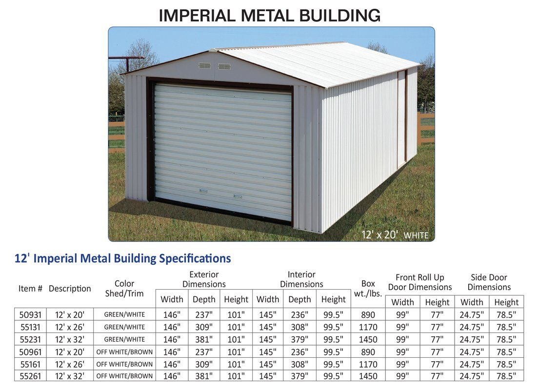 Imperial 12 Ft W X 20 Ft D Metal Garage Shed Small Shed Plans Shed Portable Sheds