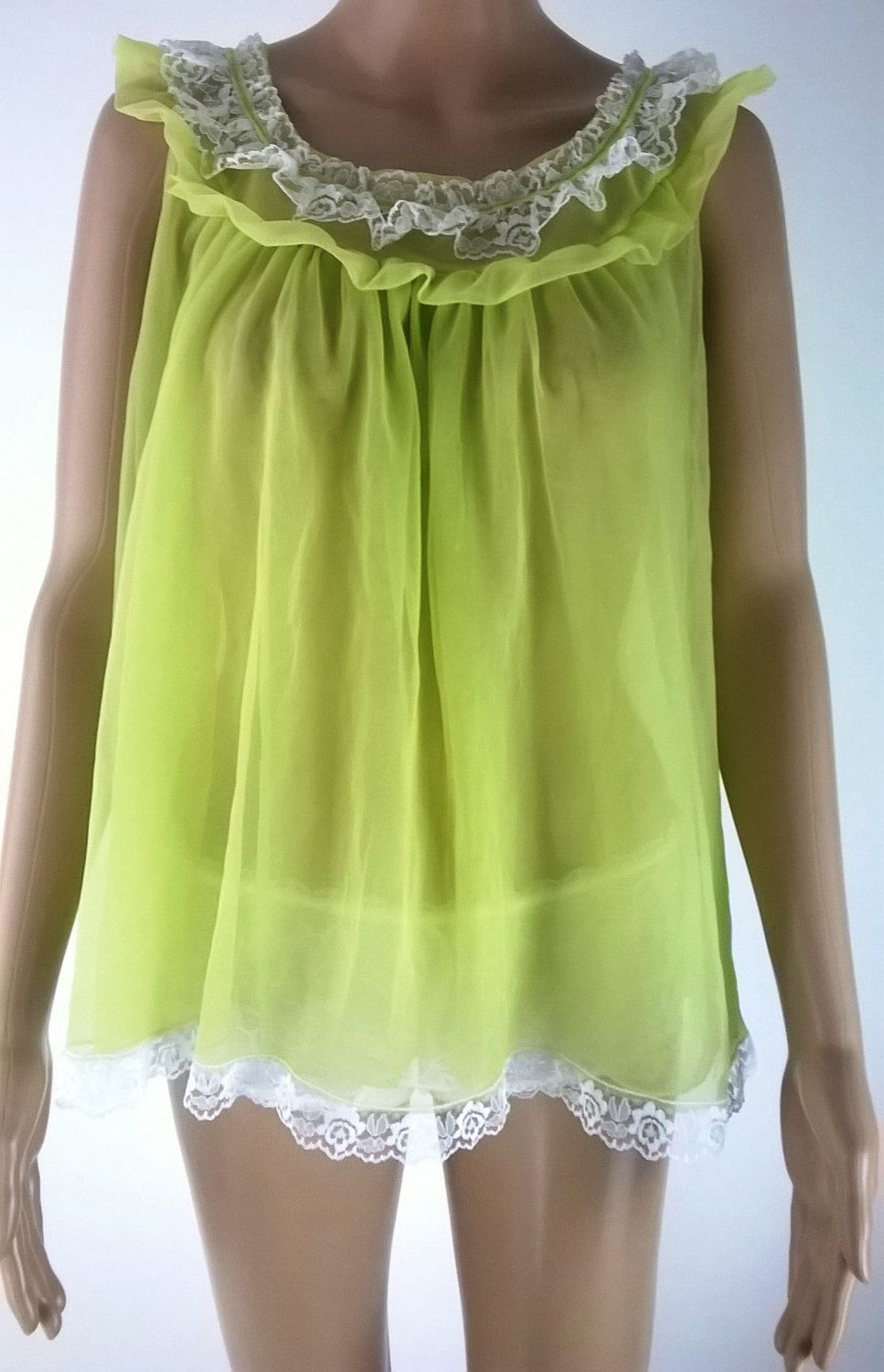 1e81ceebd8e Vintage Babydoll Nightie Negligee 1960s Sheer Lime Green Frilly Chiffon  Vintage Lingerie Size Large 42 44 60s Lace Nightgown by RadicalMaudVintage  on Etsy