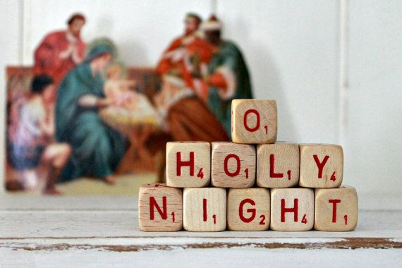 vintage letter cube words O HOLY NIGHT
