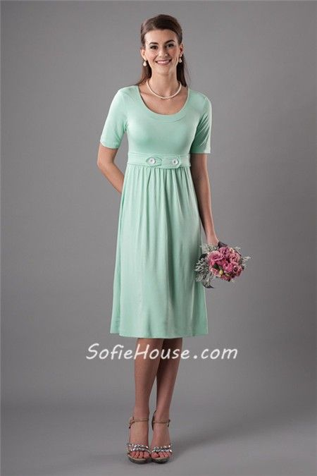 Modest Sheath Scoop Neckline Short Mint Green Bridesmaid Dress ...