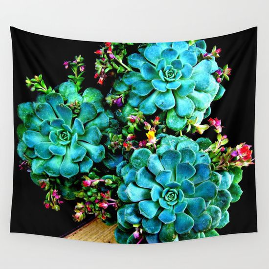 Beautiful Autumn plant green, blue Wall Tapestry