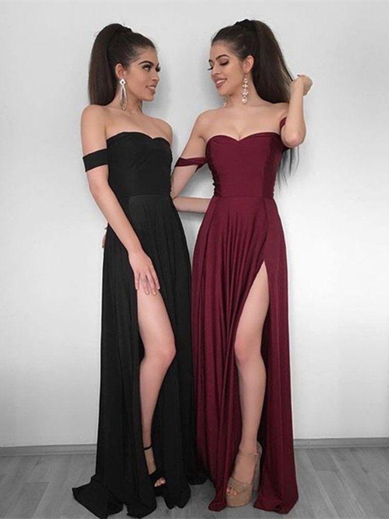609b78cb97 A Line Off Shoulder Black Burgundy Prom Dress