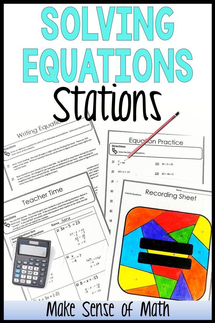 Solving Equations Stations Solving equations, Seventh