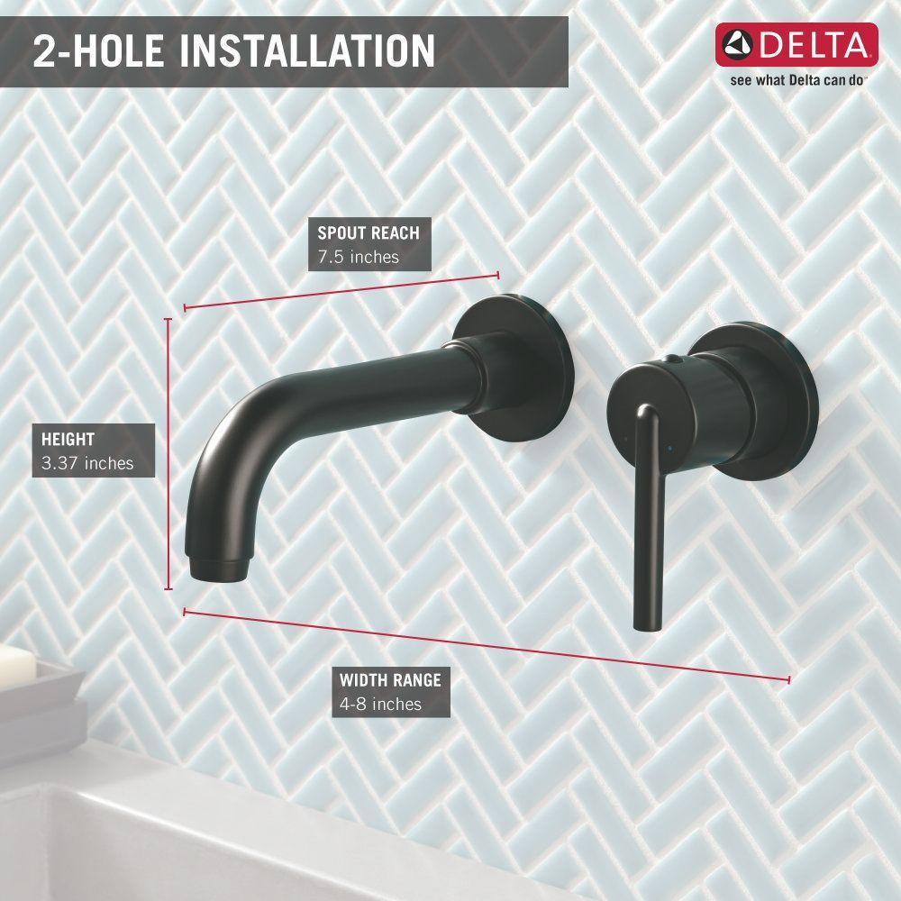 Delta Faucet T3559lf Blwl Trinsic Matte Black Wall Mount Bathroom Faucets Efaucets Com Wallmountbat Wall Mount Faucet Bathroom Bathroom Faucets Wall Faucet