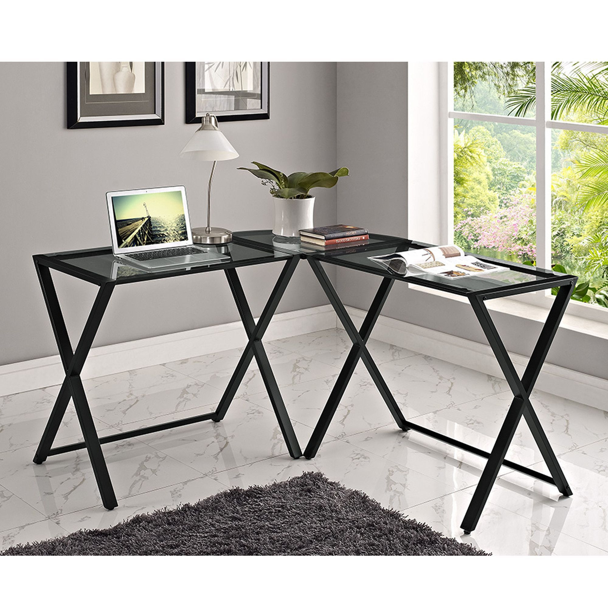 Buy xframe glass u metal lshaped computer desk smokeblack at