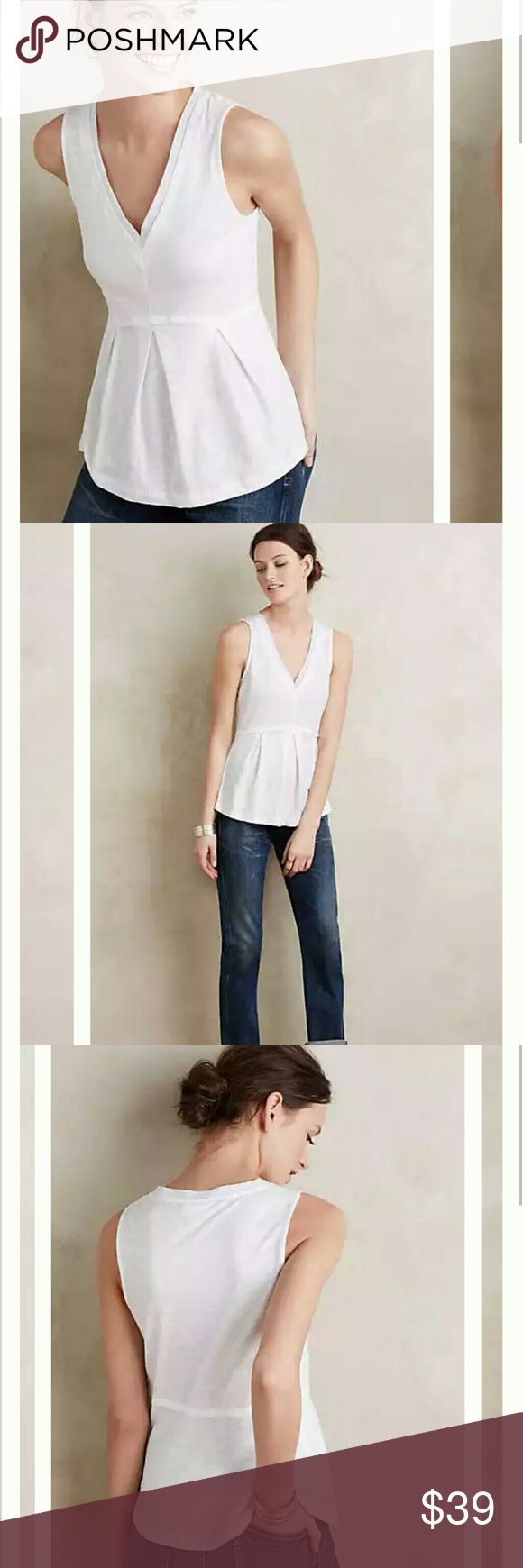 """Amalia Peplum Tank By Deletta for Anthropologie   Cotton Pullover styling  Dimensions: Regular: 26""""L Petite: 24.25""""L Anthropologie Tops"""