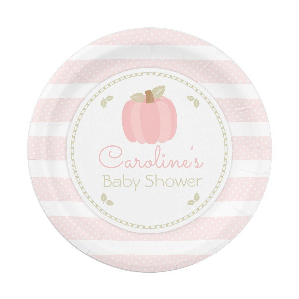 Pink Pumpkin Baby Shower Paper Plate 8 paper plates