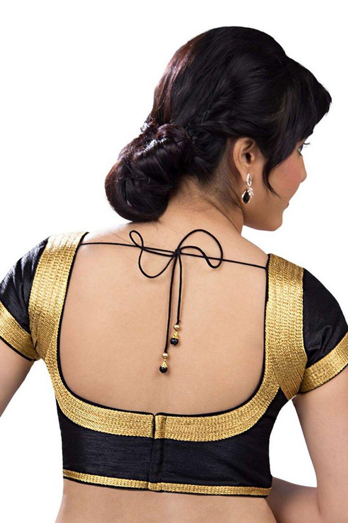7e56073b2781db Black raw  silk casual wear splended  blouse with round u neck-BL662 ...