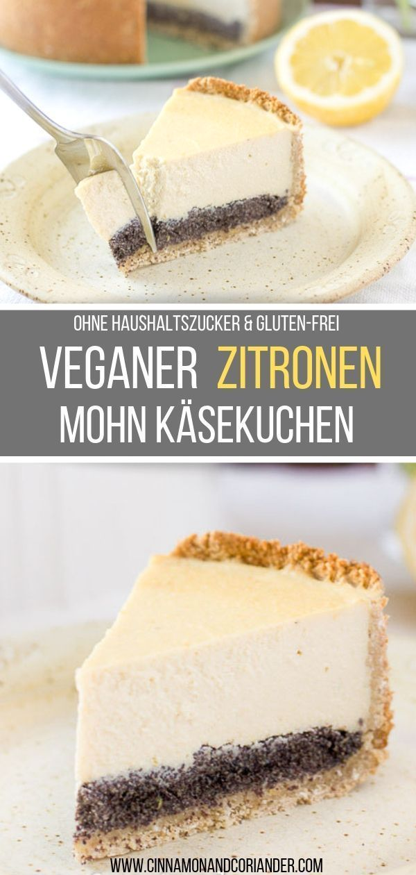 Photo of Vegansk ostekake med valmuefrø (sukkerfri, glutenfri)
