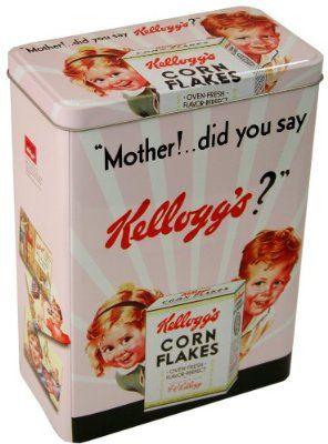 Kelloggs Vintage Cereal Tin - Corn Flakes Retro Pink Storage Tin Amazon.co.uk Kitchen u0026 Home  sc 1 st  Pinterest & Kelloggs Vintage Cereal Tin - Corn Flakes Retro Pink Storage Tin ...