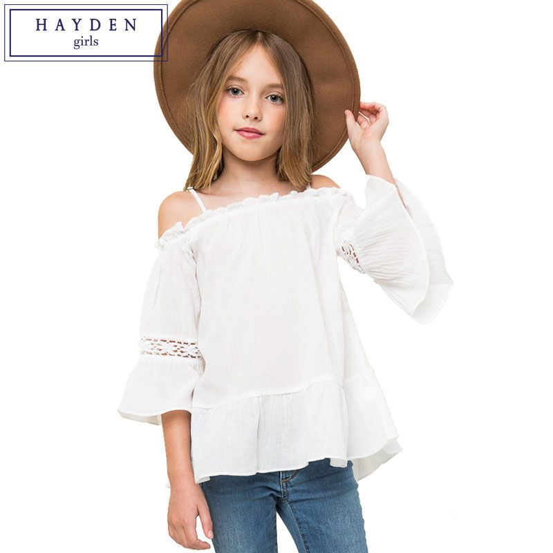 8756cdc6b20 HAYDEN Girls Off Shoulder Top Kids Flare Sleeve Blouse Shirt Girl 7 to 14  Years Teenagers Brand Designer Clothing Age 12 11 10