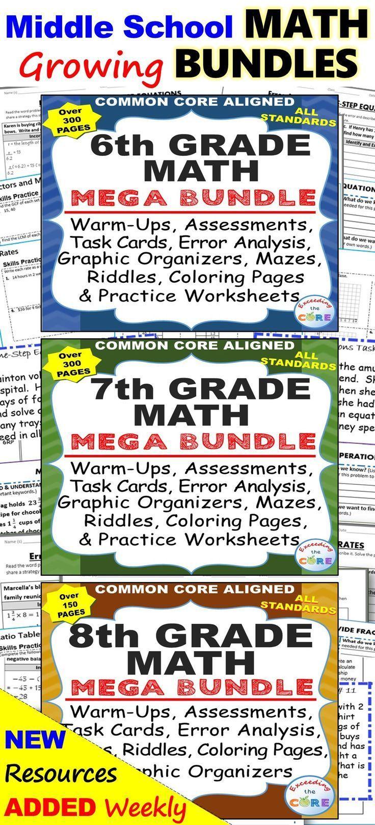Middle School Math Growing Bundle Common Core Middle School Math Middle School Math [ 1619 x 736 Pixel ]