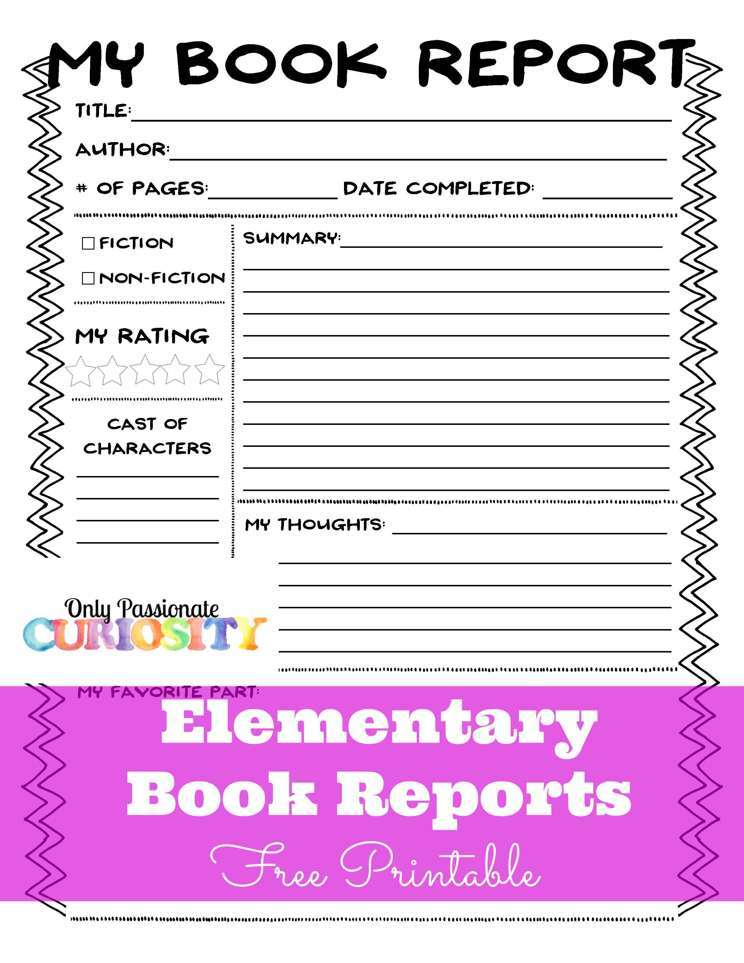 Elementary Book Reports Made Easy With Images