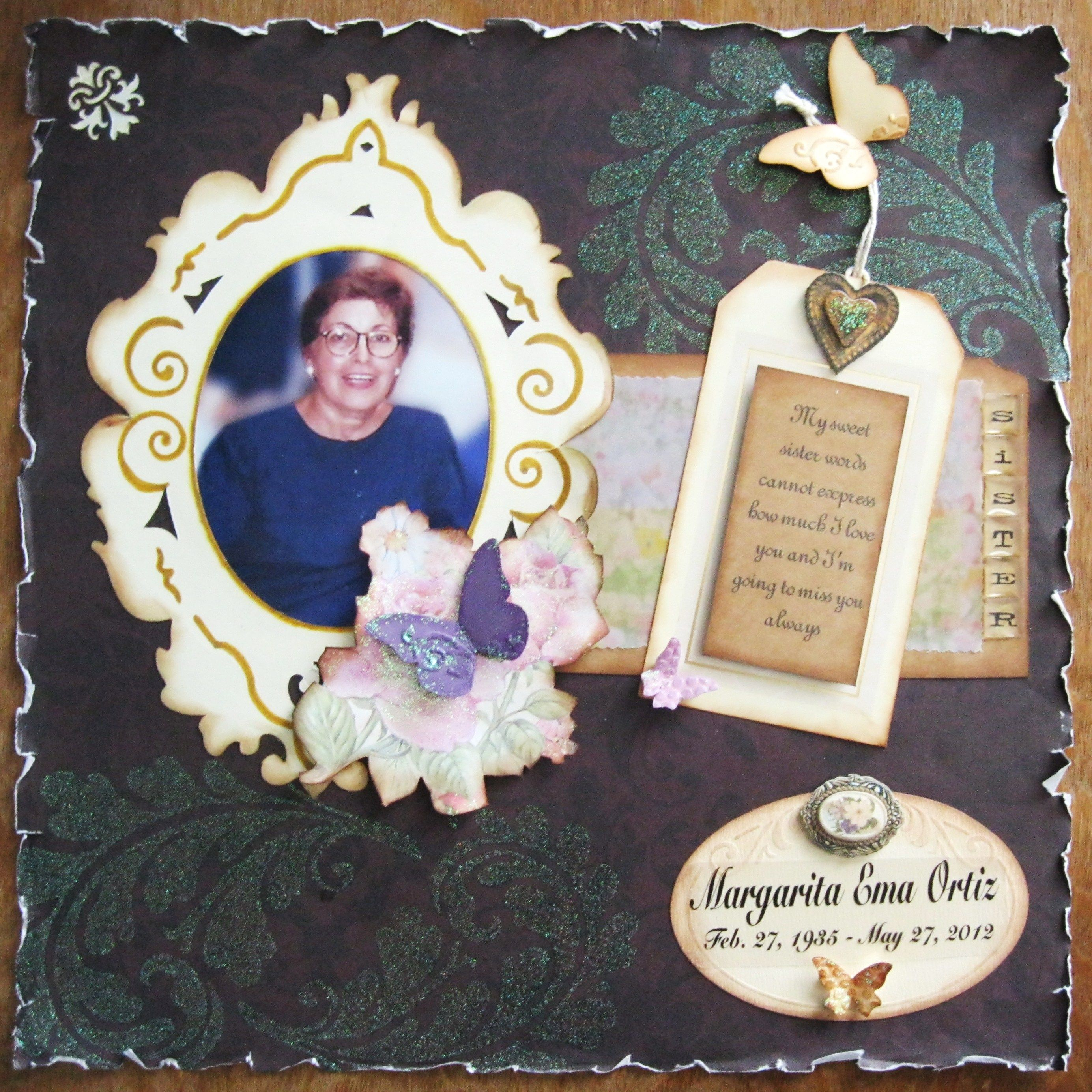 Scrapbook ideas sister - Four Days Ago My Sister Cuca Passed Away She Was 77 I Felt Compelled To Scrapbook About Her As A Tribute And Also As A Way To Channel My Pain She Was