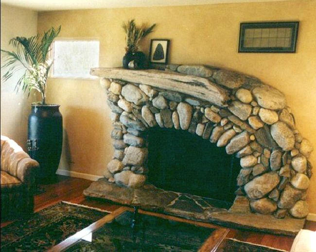 River rock fireplace in California by Michael Eckerman Lots more