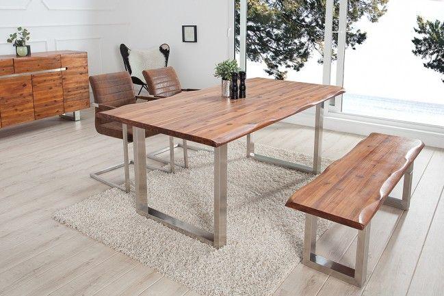 Massiver Baumstamm Tisch GENESIS 160cm Akazie Massivholz Baumkante - outdoor küche edelstahl