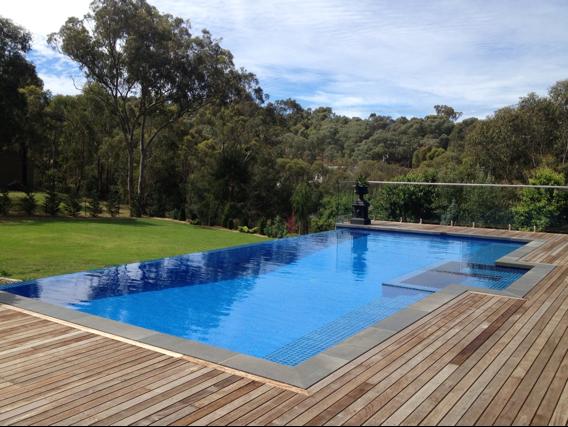 Beautiful Infinity Pool   Glass Edge Wood Terrace