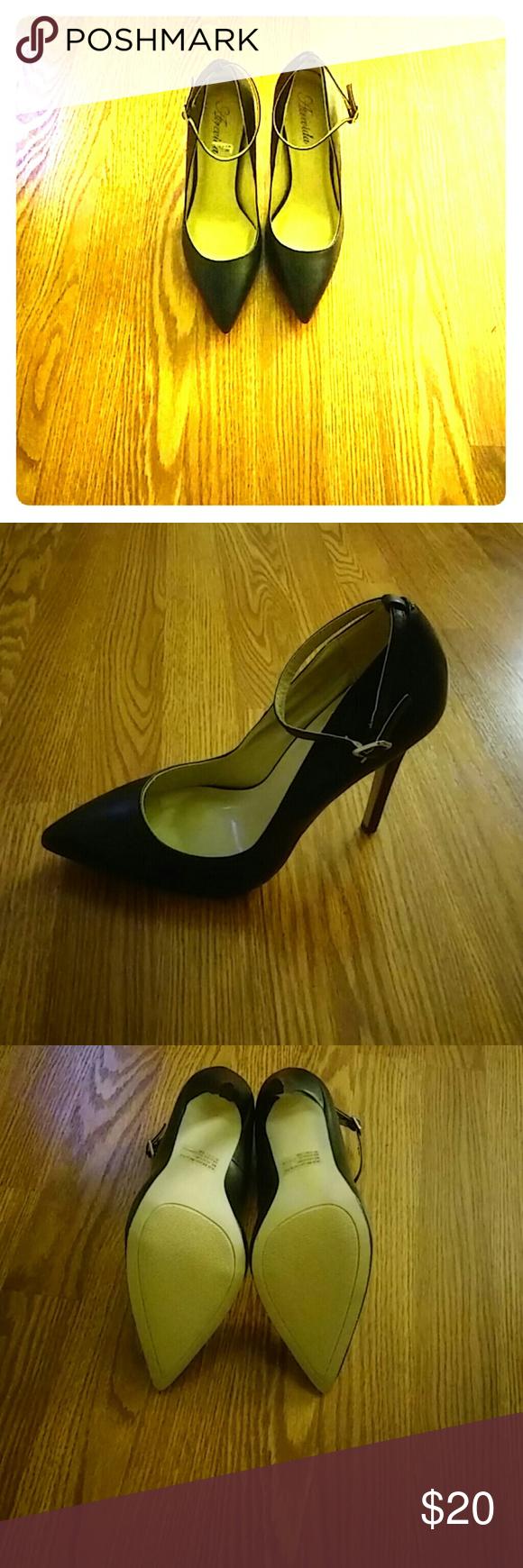 Cute ankle strap black heels Black ankle strap heels New worn just to try on 5 inch heel atrevida Shoes Heels