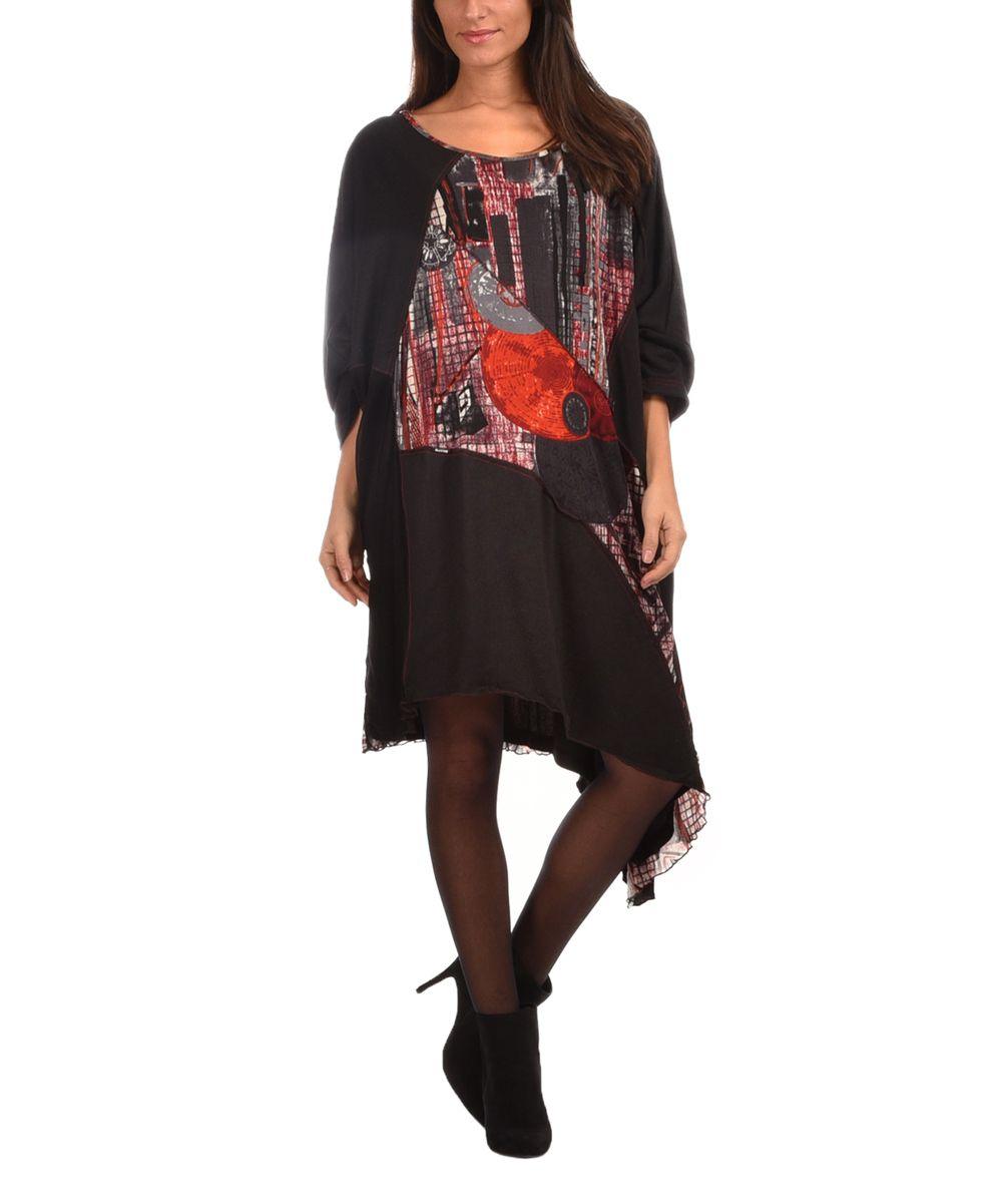 Black & Red Abstract-Panel Asymmetrical-Hem Dress - Plus