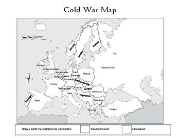 Cold War map that students can use to color in communist and non ...