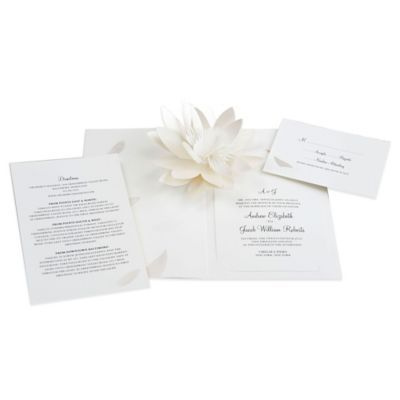 24 Count Flower Blossom Pop Up Wedding Invitations Www Bedbathandbeyond Com Wedding Invitations Flower Invitation Wedding Invitation Cards