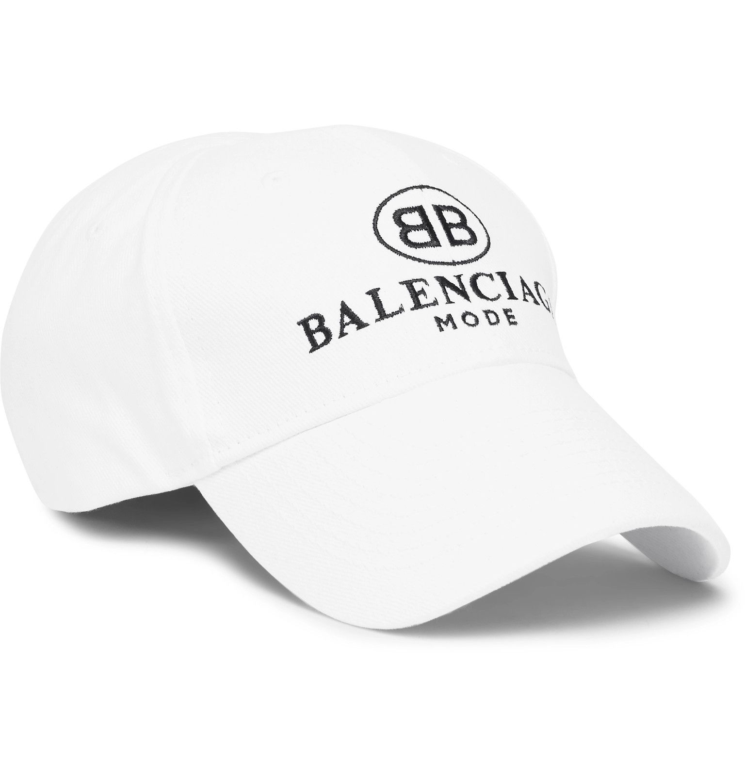5ef22bcdf29 Balenciaga s cap is patterned with a double-B monogram and the brand s  emblem in an