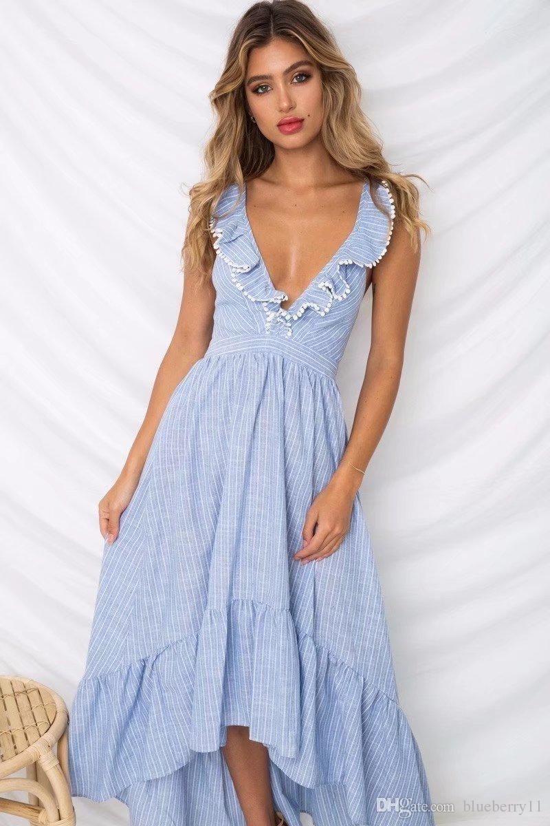 c858ee5ba5 Eveningdresses sexy boho blue flounce casual beach dress maxi ruffle