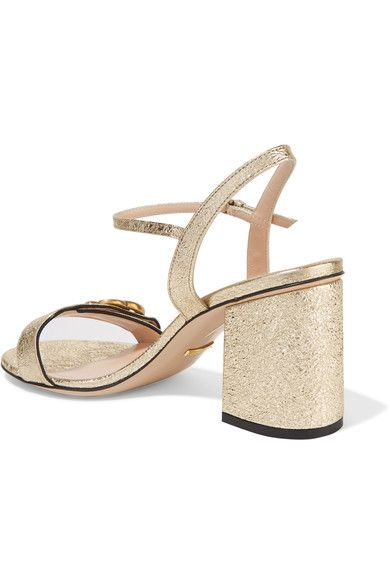 15ad2072166b Gucci - Marmont Embellished Cracked-leather Sandals - Gold ...