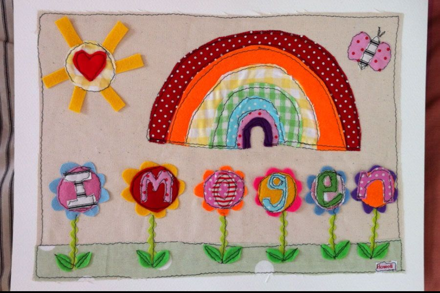 £50 Personalised Rainbow Picture - original textile design by Sarah Howell made to order in white, nordic style frame #personalisednurseryart