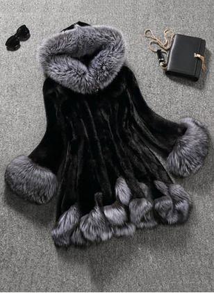 Faux Fur Polyester Black White Short Long Sleeve Lapel