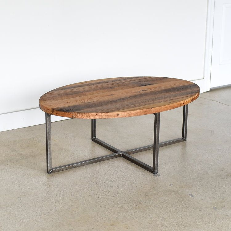 Our Oval Reclaimed Wood Coffee Table Blends Industrial Criss Cross