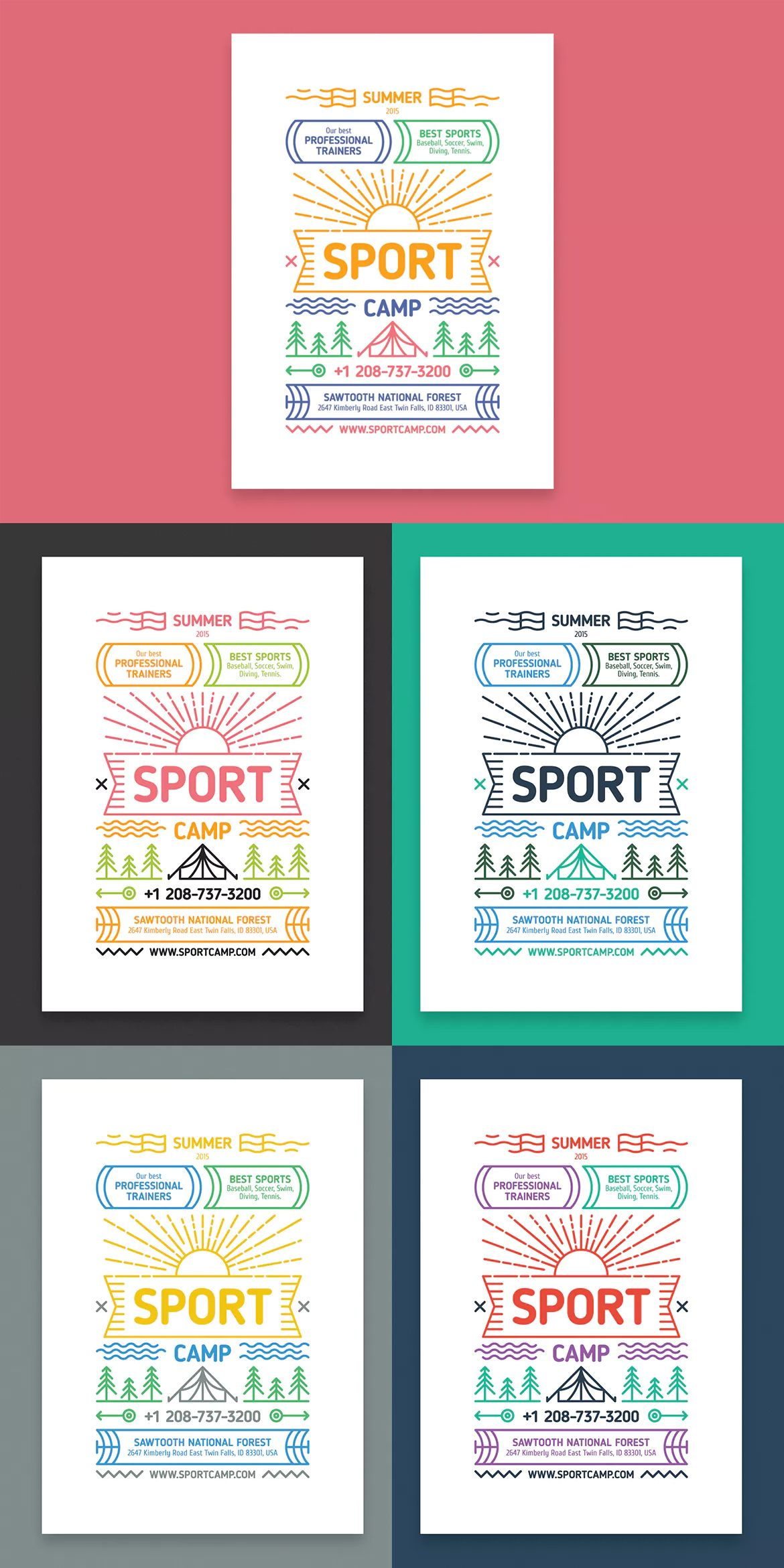 sport camp poster template eps a2 | poster templates | pinterest, Powerpoint templates