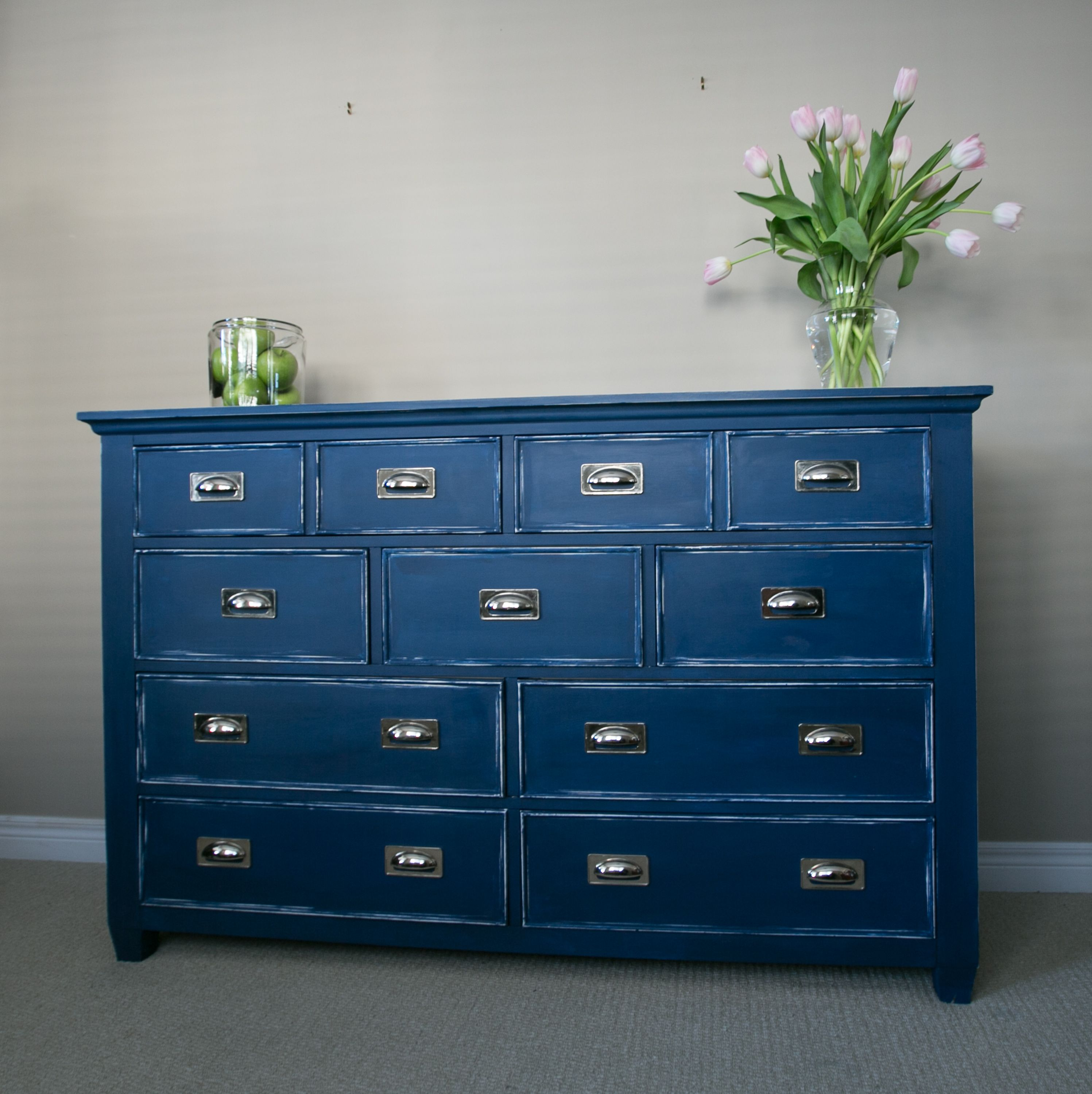 Chalk Paint Dresser Navy Blue Color Napoleonic Blue Annie Sloan Kids Room Nautical Dresser Pintura A La Tiza Muebles Muebles Reciclados