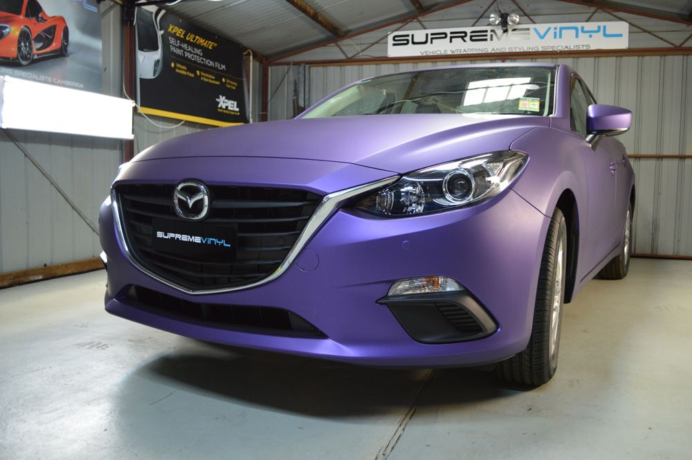 Mazda 3 Matte Metallic Purple Wrap Matte Cars Vinyl Wrap Car Mazda
