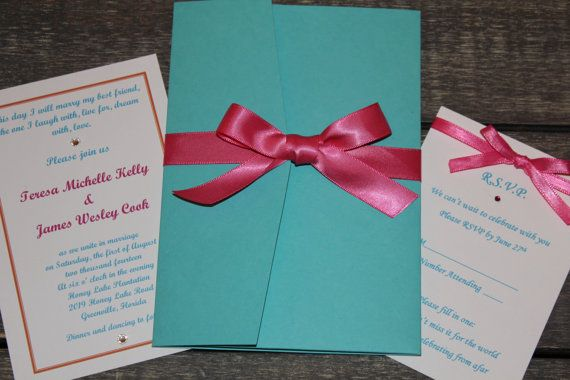 Tiffany Blue And Red Wedding Invitations: Tiffany Blue And Hot Pink Wedding Invitation Set With