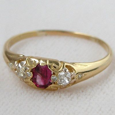 Antique Victorian Ruby and Diamond Engagement Ring